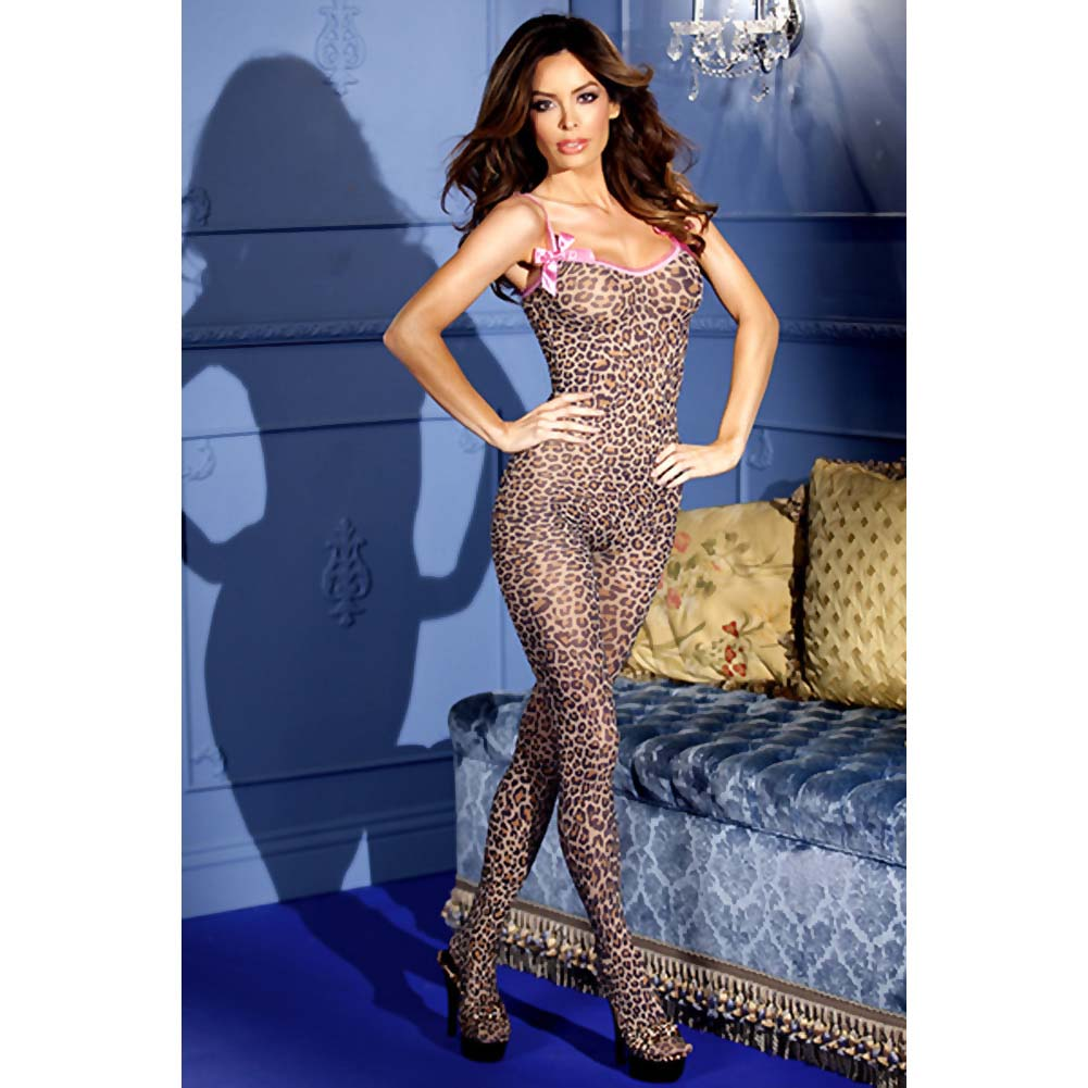 Leopard Print Crotchless Bodystocking W/Bows Leopard O/S - View #3