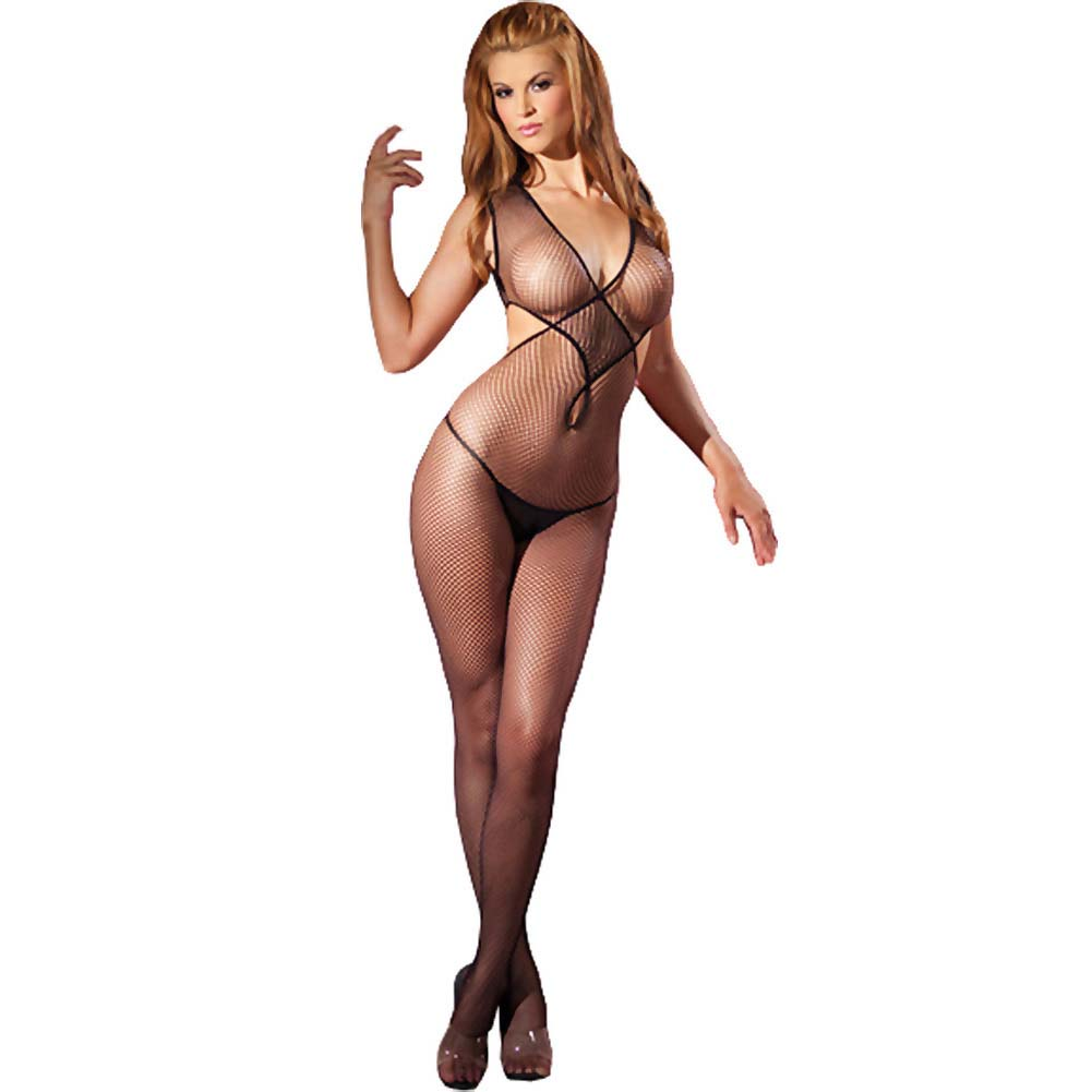 Twist Front Wide Net Crotchless Bodystockings Black O/S - View #1