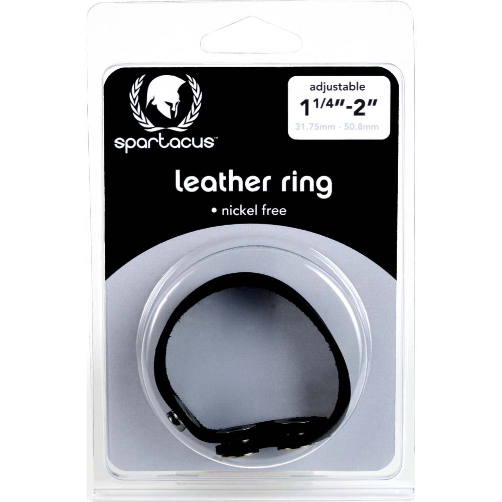 Spartacus Nickel Free Adjustable Snap Leather Cockring Black - View #1