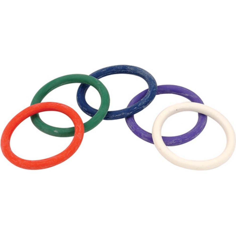 "Spartacus Rainbow Rubber Cockring Set 1.5"" Pack of 5 - View #2"