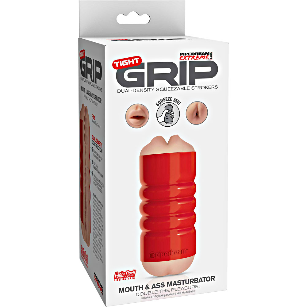 Pipedreams Extreme Toyz Tight Grip Dual Density Squeezable Stroker Mouth and Ass - View #4