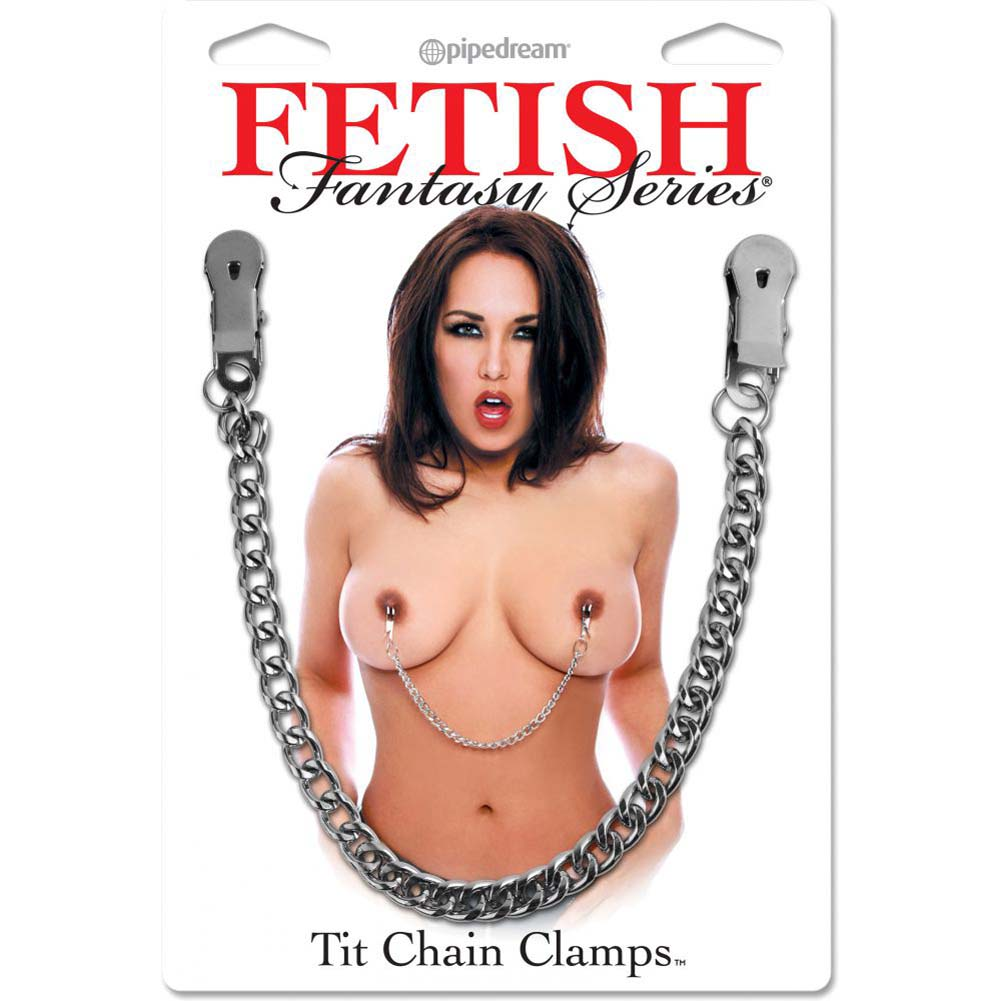 "Fetish Fantasy Series Tit Chain Clamps with 12"" Chain Silver - View #1"