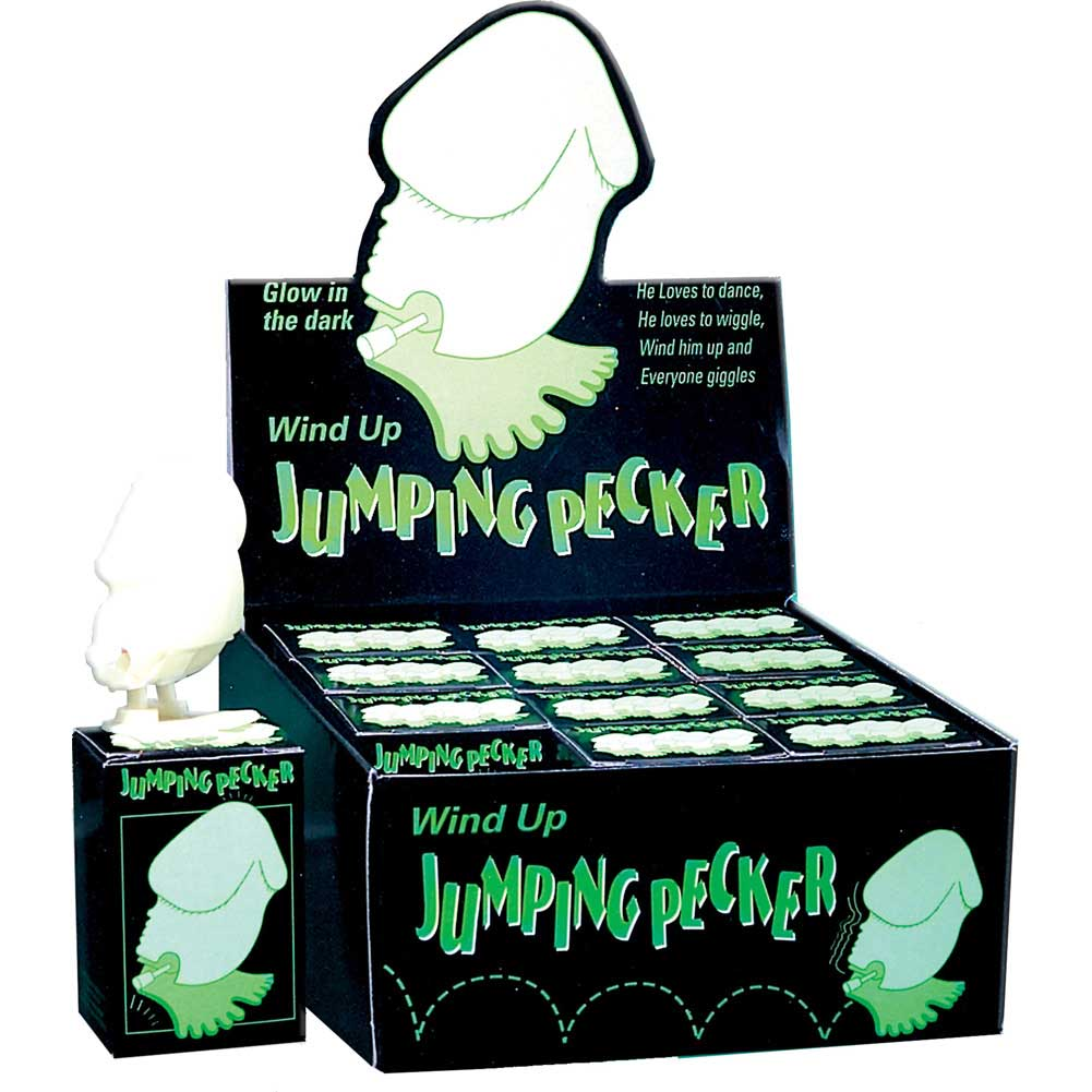 Wind Up Glow-in-the-Dark Jumping Pecker 12 Piece Display - View #2
