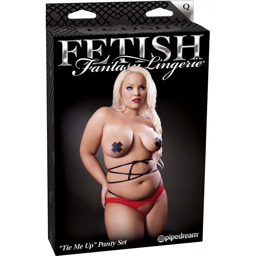Fetish Fantasy Lingerie Tie Me Up Set - Pasties Panties and Elastic Ties Queen Size Red/Black - View #1