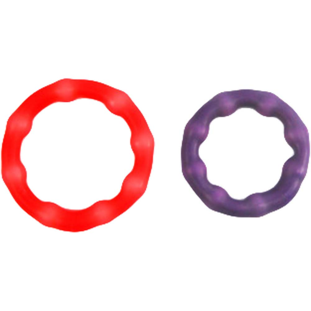 Tlc Real Man Cock Rings Red and Purple - View #2