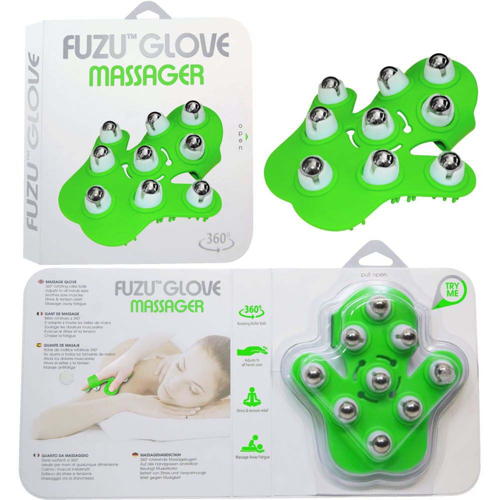 Fuzu Glove Roller Body Massager for Stress Relief Neon Green - View #3