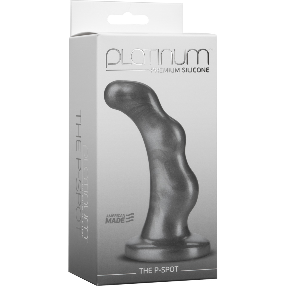 "Doc Johnson Platinum Silicone P-Spot Anal Massager 4.75"" Charcoal - View #1"