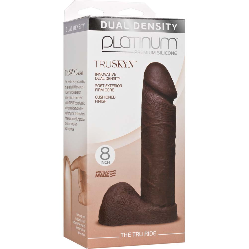 "Doc Johnson Platinum Truskyn Tru Ride Dildo 8"" Chocolate - View #1"