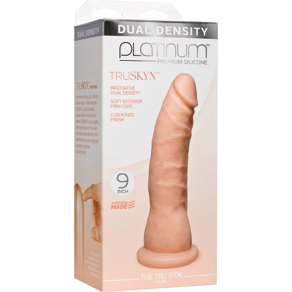 "Doc Johnson Platinum Truskyn Tru Ride Slim Dildo 9"" Vanilla - View #1"