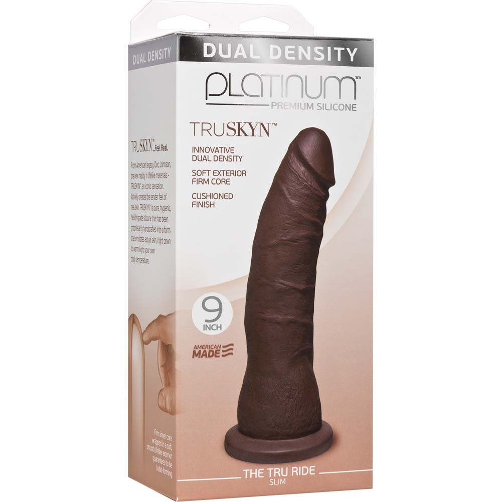 "Doc Johnson Platinum Truskyn Tru Ride Slim Dildo 9"" Chocolate - View #1"