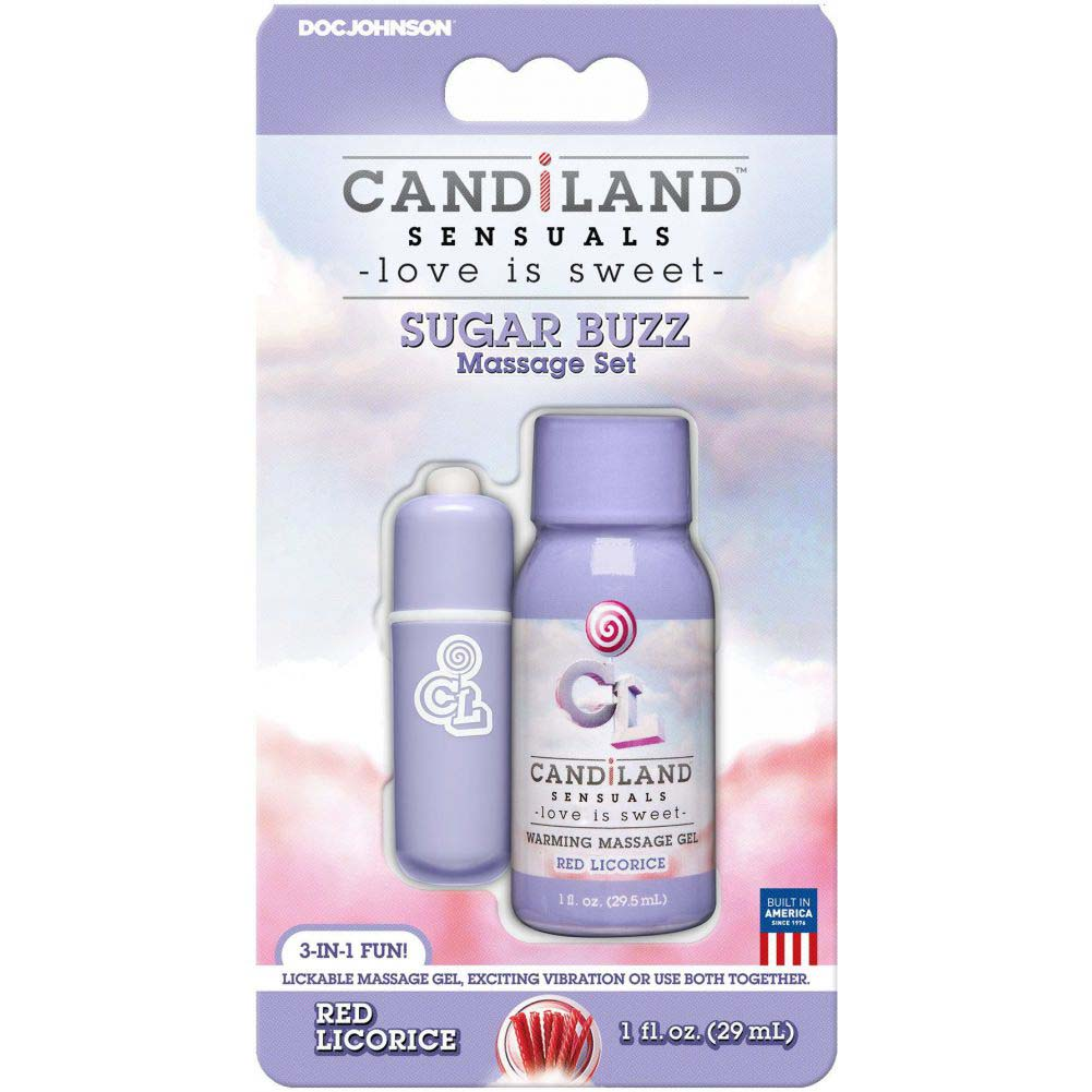 CANDiLAND Sugar Buzz Massage Set with Warming Gel and Bullet Vibe Red Licorice - View #1