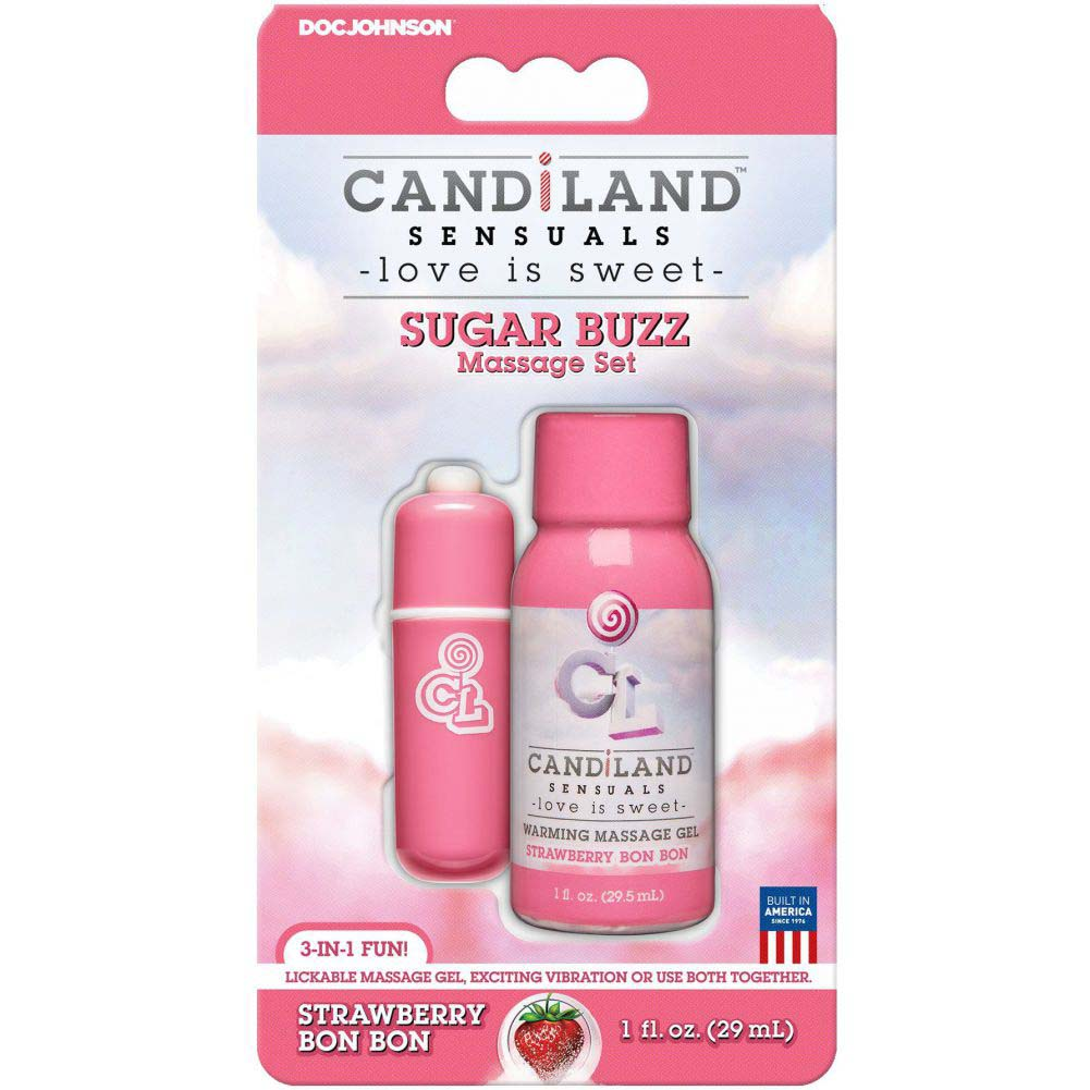 CANDiLAND Sugar Buzz Massage Set with Warming Gel and Bullet Vibe Strawberry Bon Bon - View #1
