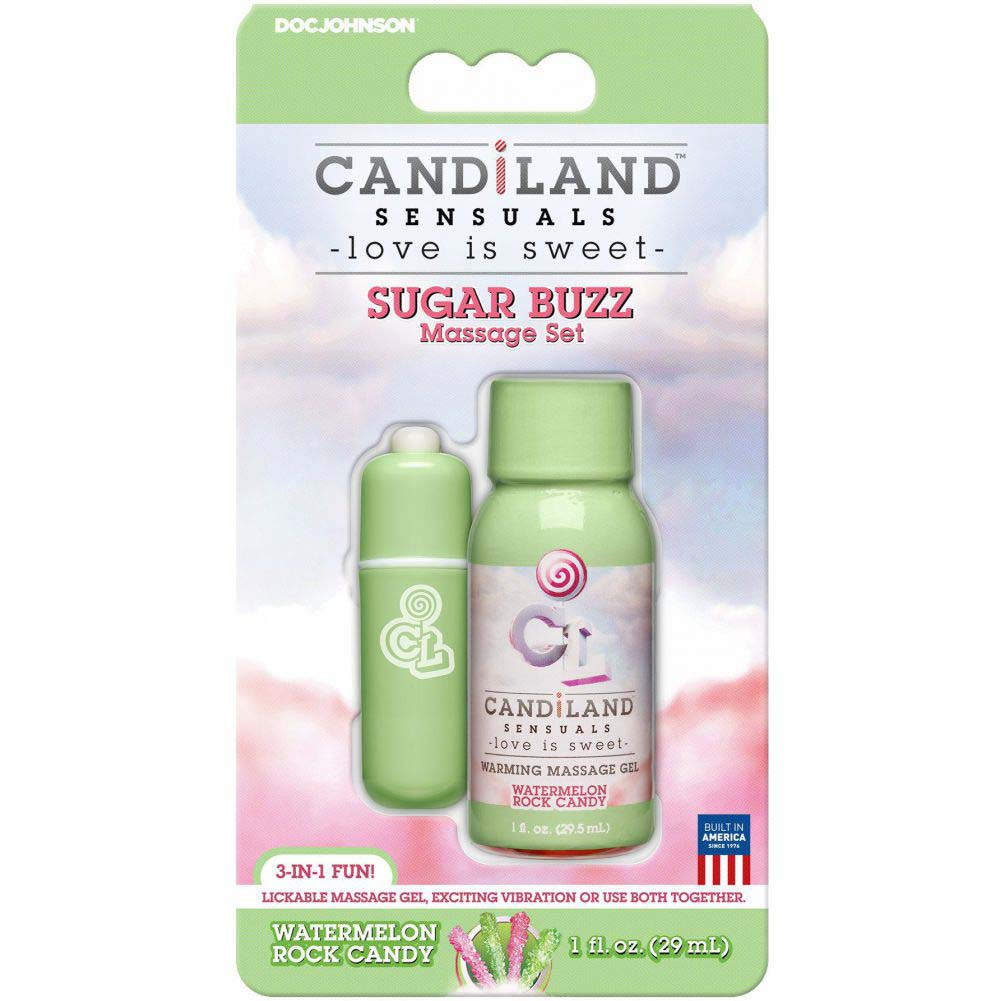 Doc Johnson Candiland Sensuals Sugar Buzz Watermelon Rock Candy Massage Set - View #1