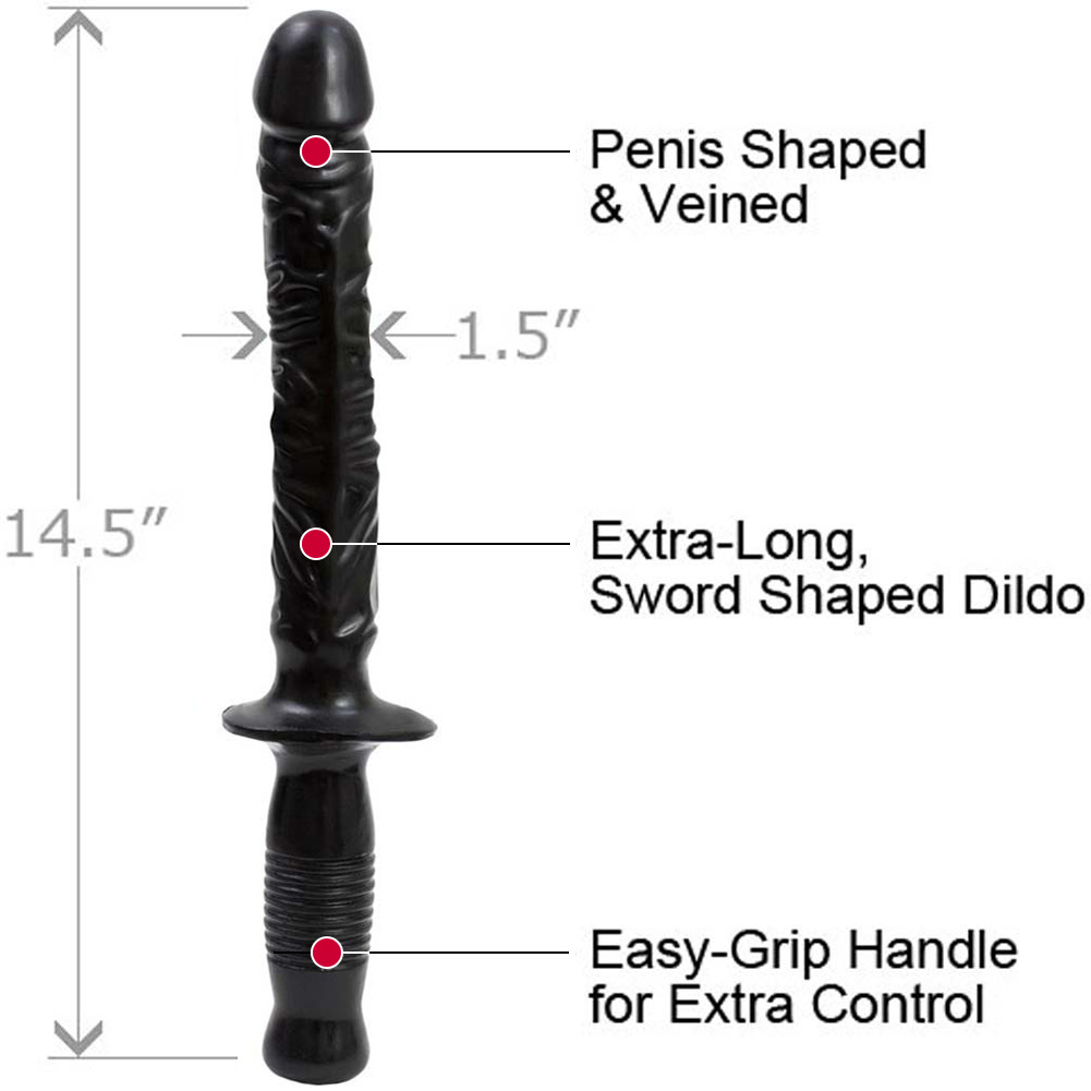 "Doc Johnson Classic Manhandler Dildo 14.5"" Ebony Bulk Packaging - View #1"