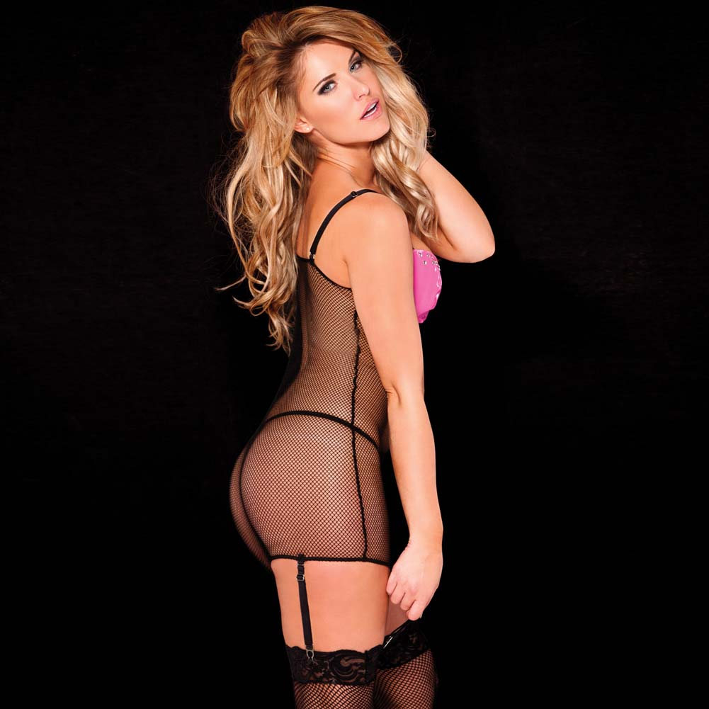 Allure Vinyl and Fishnet Dress with Underwire Cups and Zipper Front One Size Pink/Black - View #2