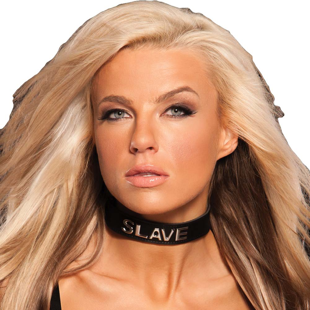 Allure Lingerie X Play Talk Dirty to Me Adjustable Bondage Collar SLAVE Black - View #1