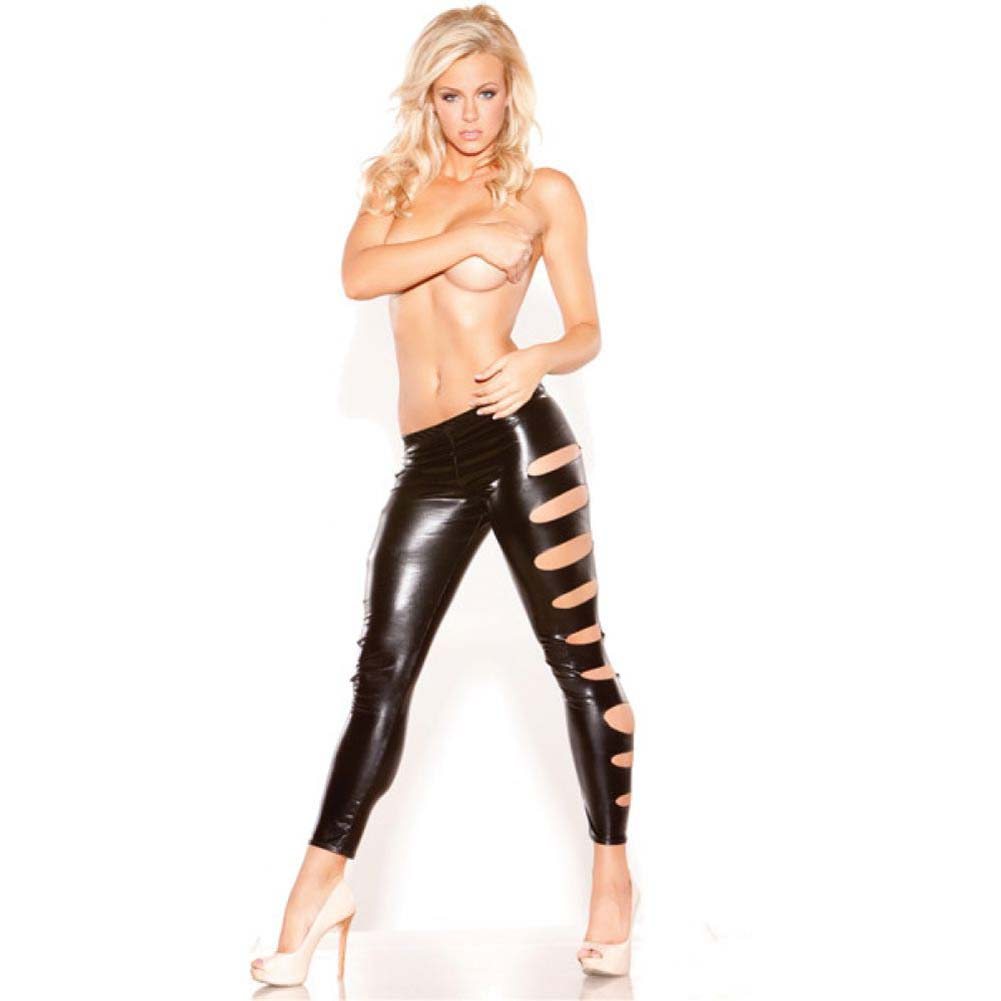 Kitten Wet Look Femme Fatale Leggings Black One Size - View #2