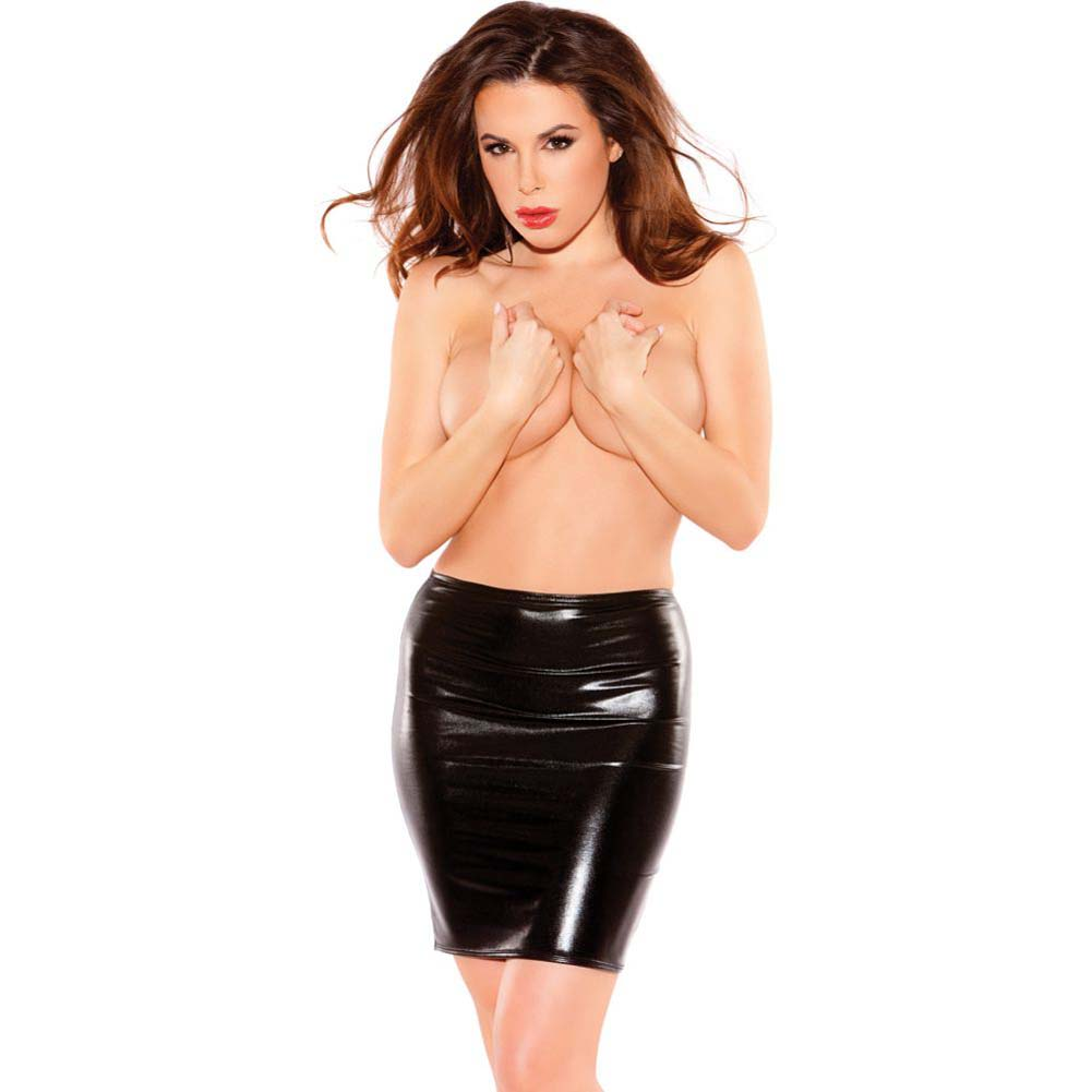 Kitten Wet Look Pencil Skirt Black One Size - View #1