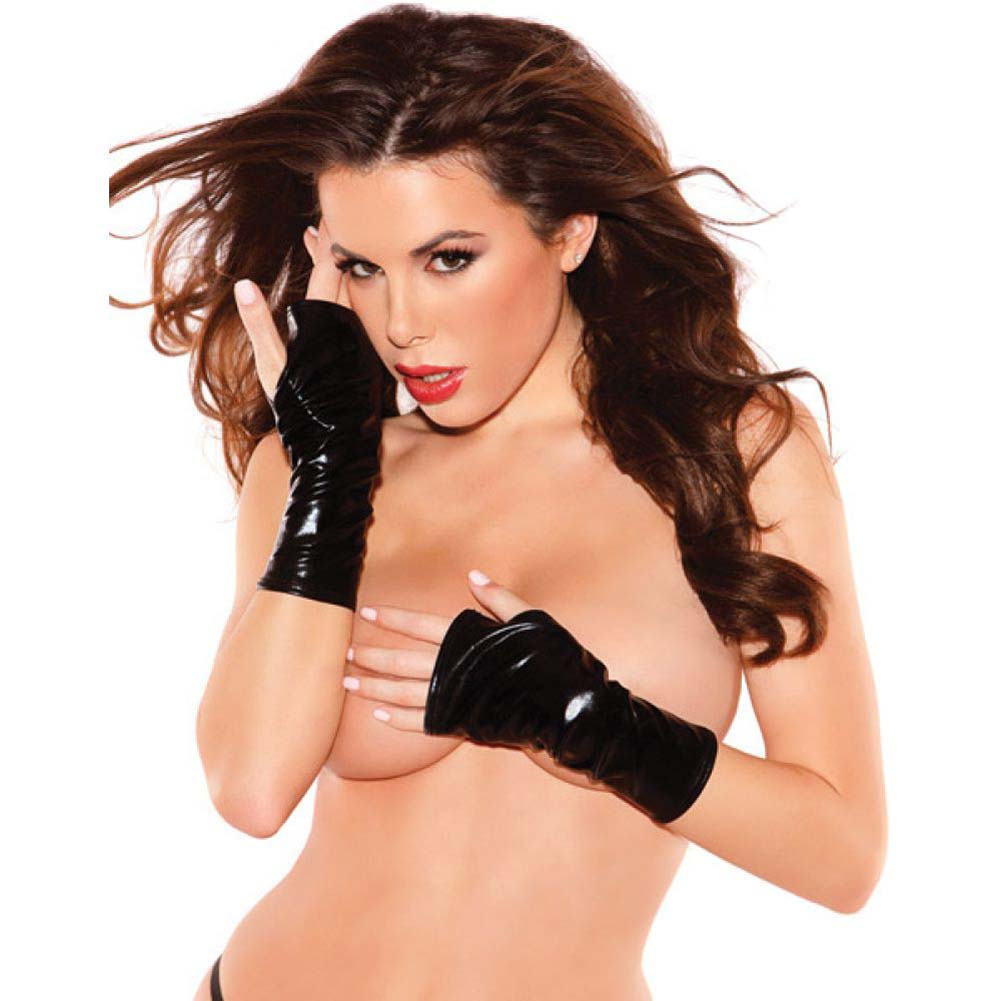 Kitten Wet Look Mini Gloves Black One Size - View #2