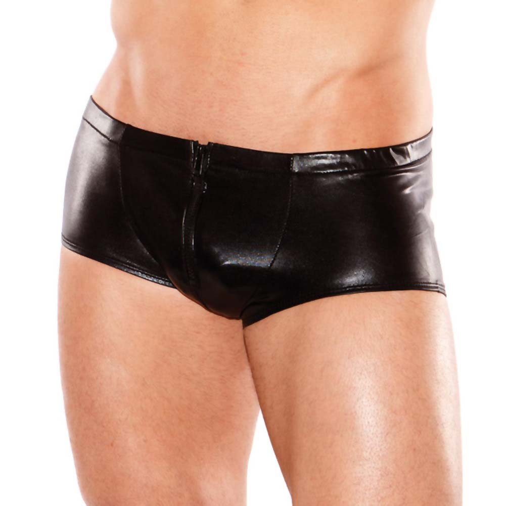 Zeus Wet Look Front Zipper Short Black One Size - View #1