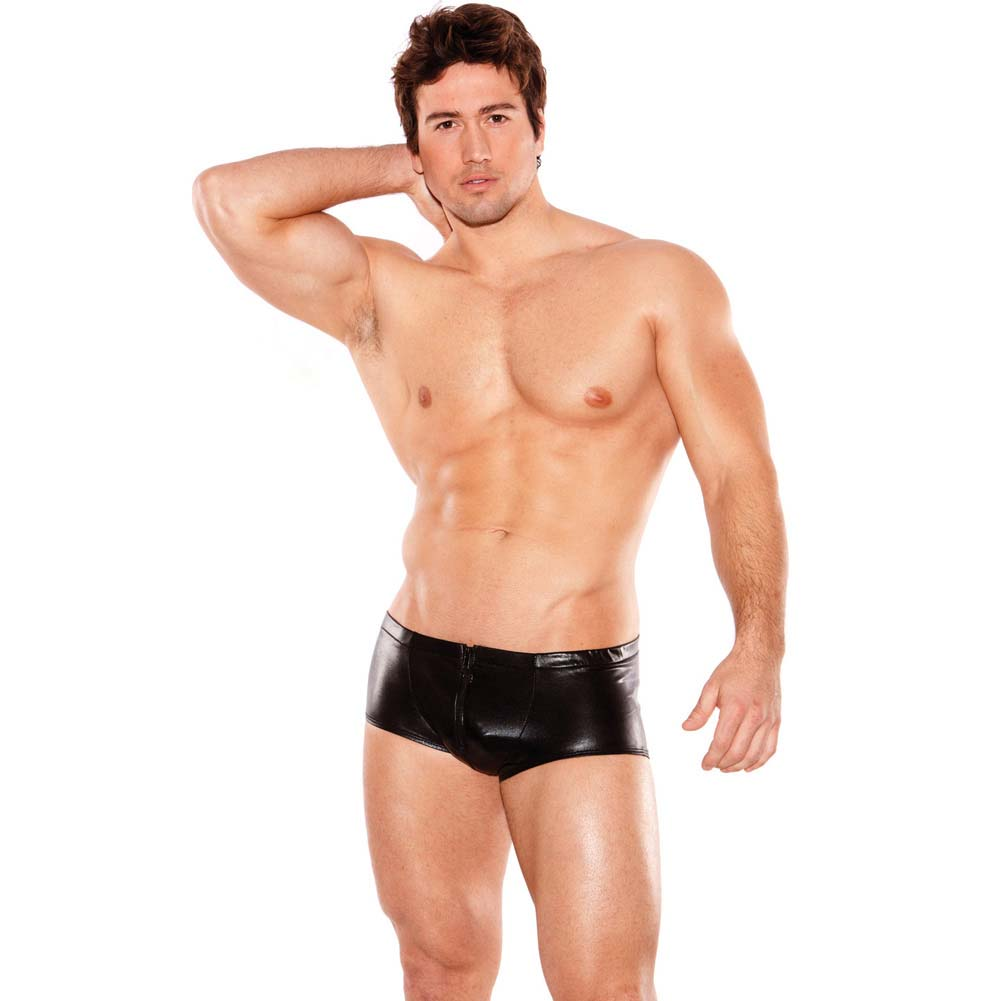 Zeus Wet Look Front Zipper Short Black One Size - View #3