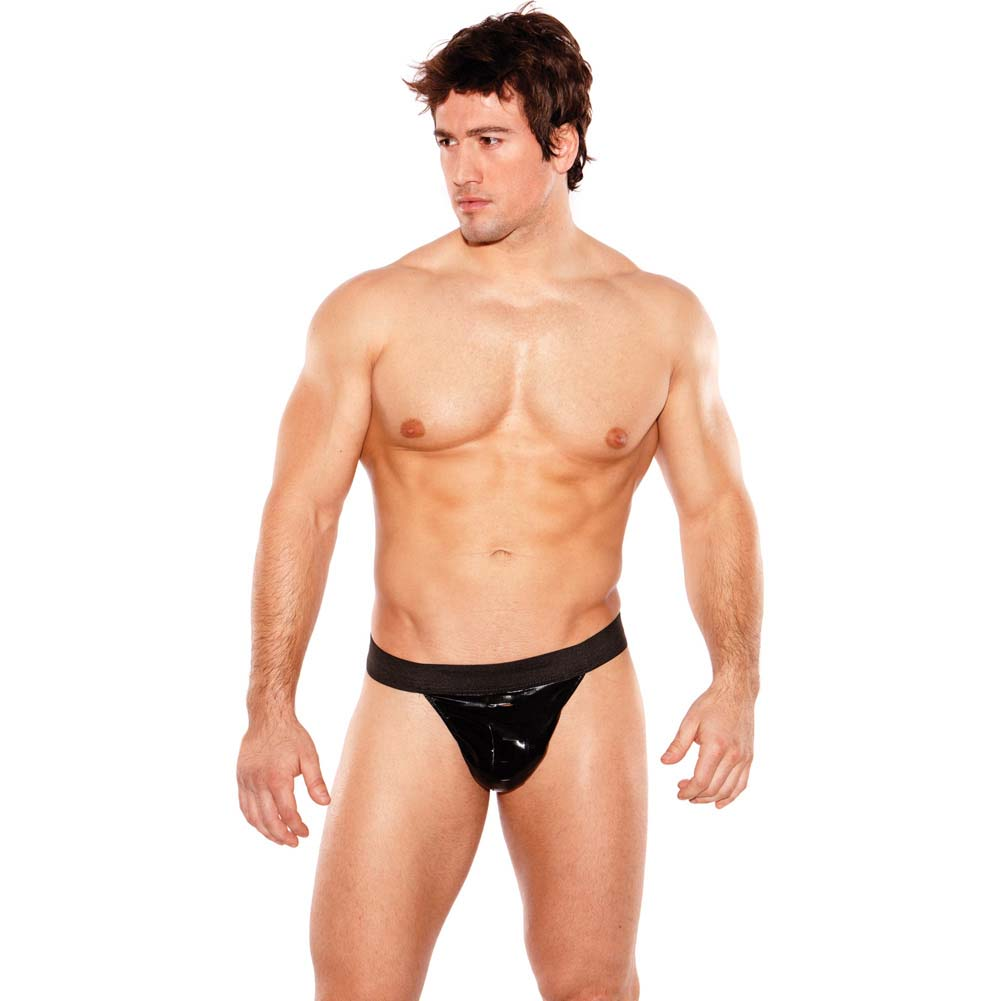 Allure Lingerie Zeus Wet Look Thong One Size Black - View #3