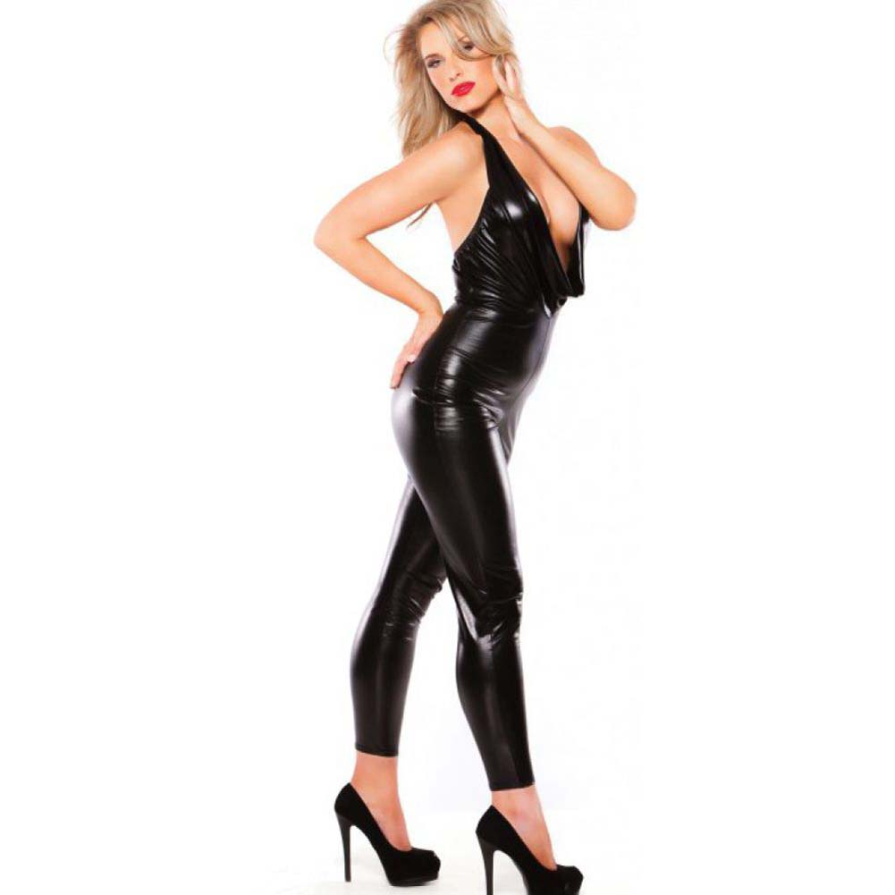 Kitten Wet Look Low Cut Body Suit Black One Size - View #2