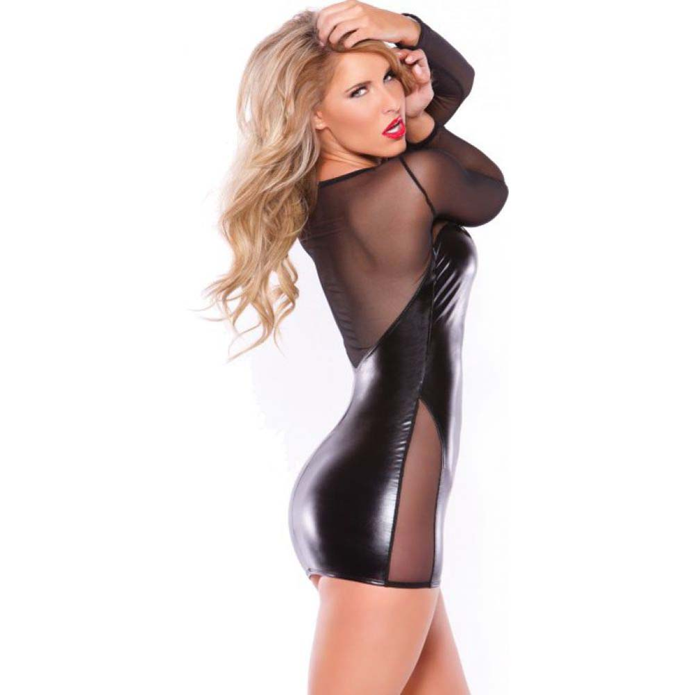 Kitten Wet Look and Mesh Dress Black One Size - View #2