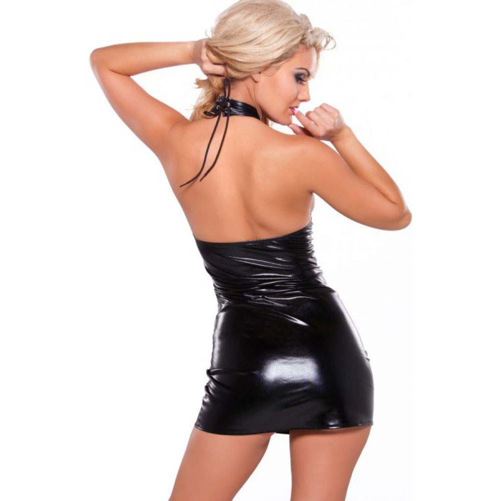 Kitten Wet Look Criss Cross Dress Black One Size - View #2