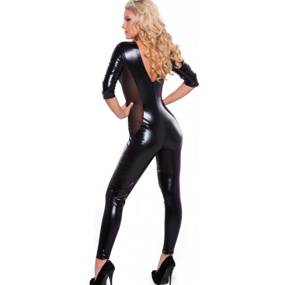 Kitten Wet Look and Mesh Catsuit with Low Cut V Front Black One Size - View #2