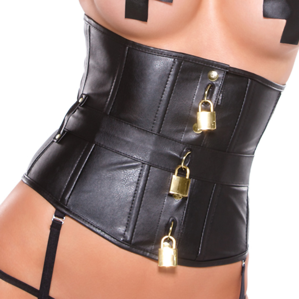 Faux Leather Underbust Corset with Gold Detail Black Medium - View #3