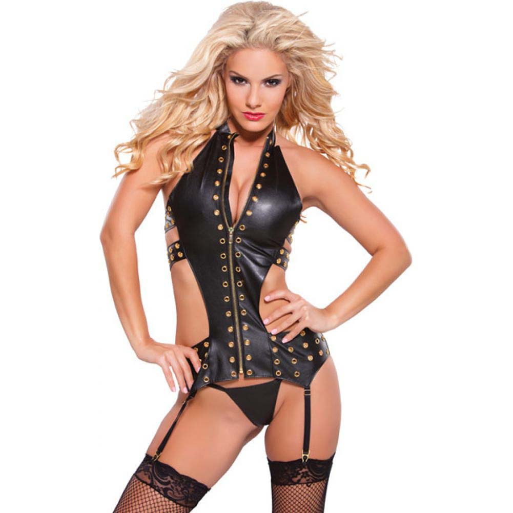Allure Lingerie Faux Leather Eyelet Corset with Garters and G-String One Size Black/Gold - View #1