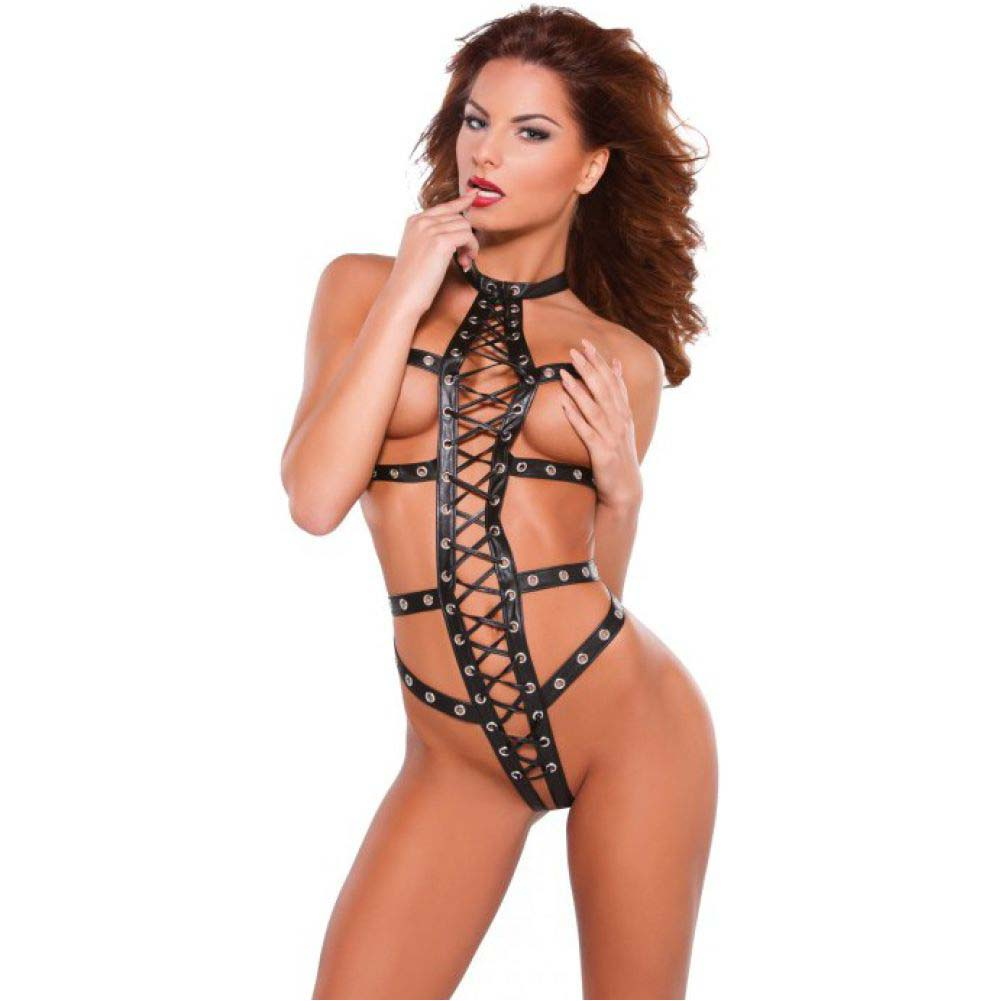 Allure Lingerie Noir Faux Leather Eyelet Lace Up Teddy One Size Black - View #1