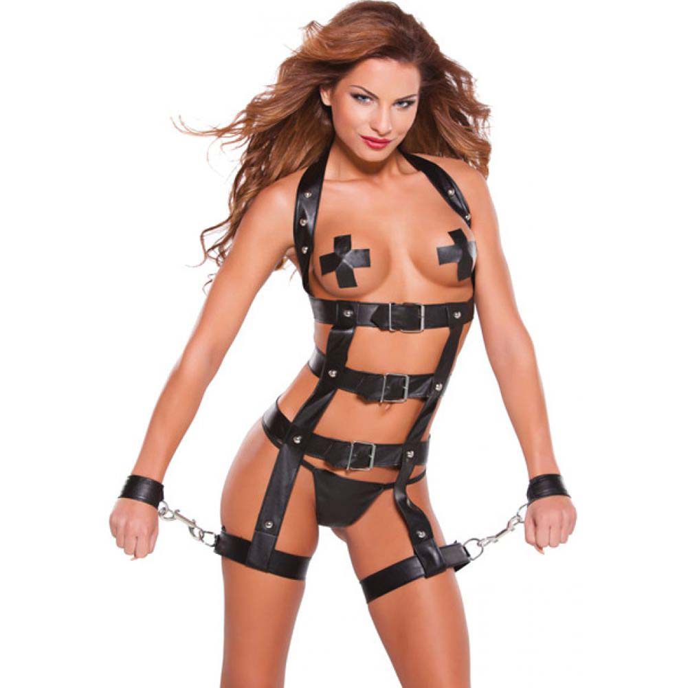 Noir Faux Leather Harness Black One Size - View #1