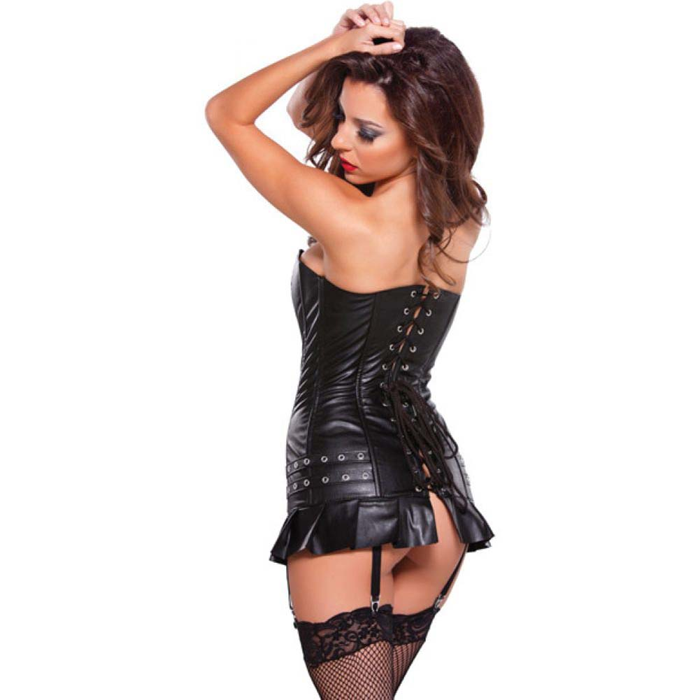 Allure Lingerie Faux Leather Corset Dress with Silver Detail Garters and G-String Small Black - View #2