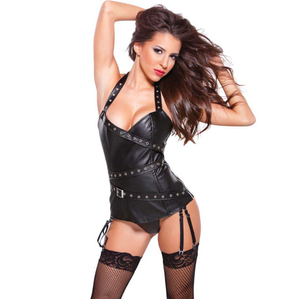 Allure Lingerie Faux Leather Halter Corset with Silver Detail Garters and G-String Small Black - View #1
