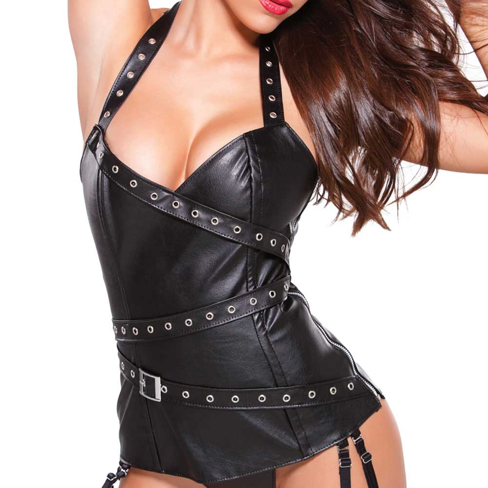Allure Lingerie Faux Leather Halter Corset with Silver Detail Garters and G-String Small Black - View #3