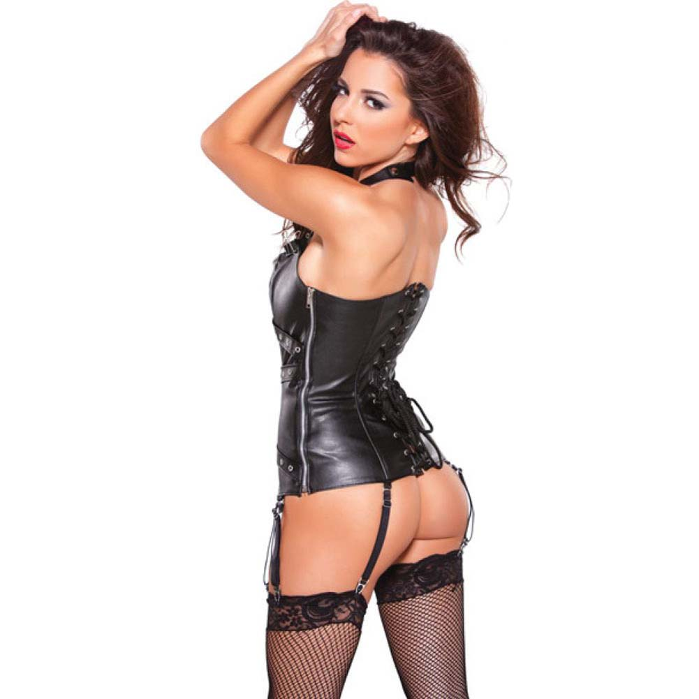 Faux Leather Halter Corset with Silver Detail Black Medium - View #2