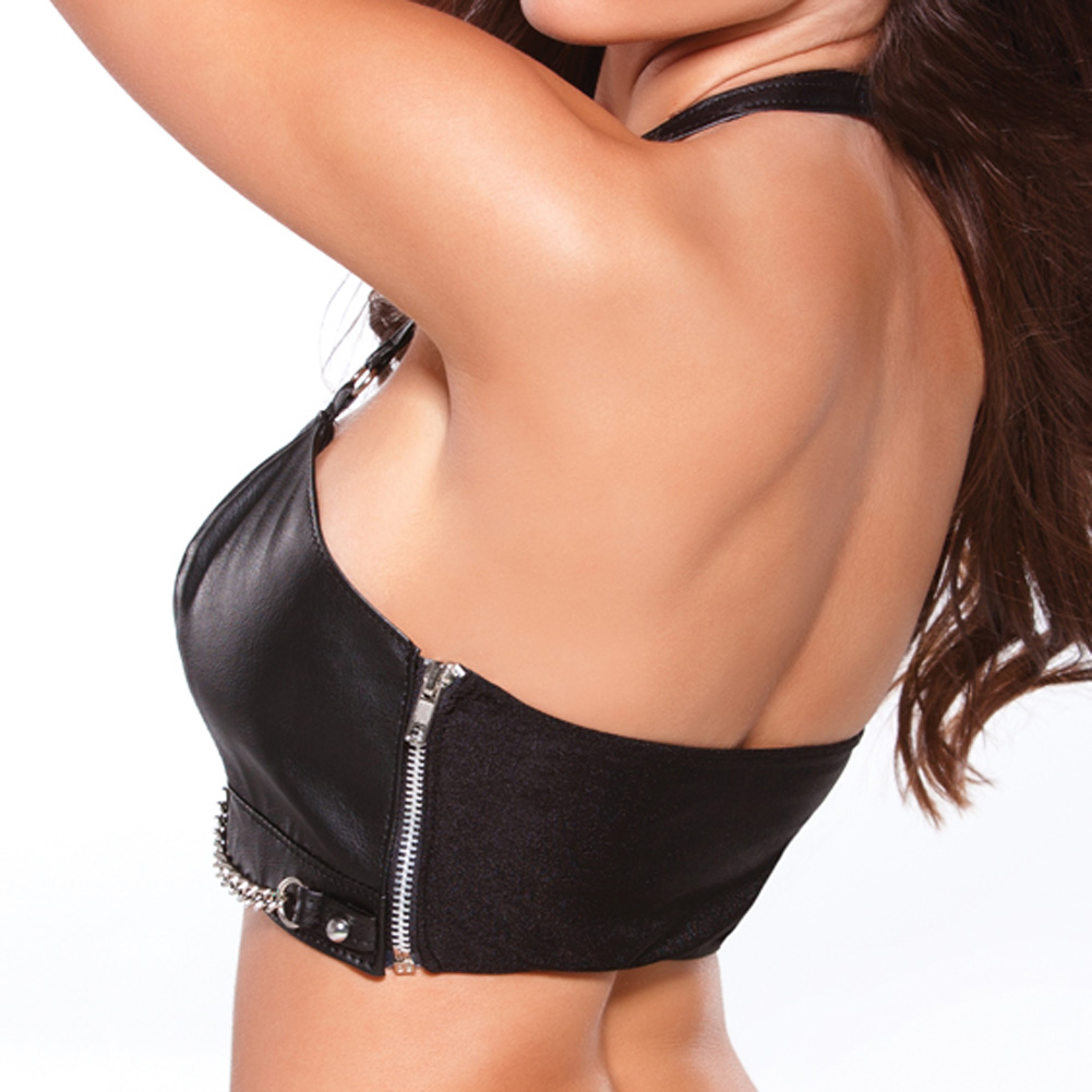 Allure Lingerie Faux Leather Bustier with Silver Chain Detail and G-String Extra Large Black - View #2