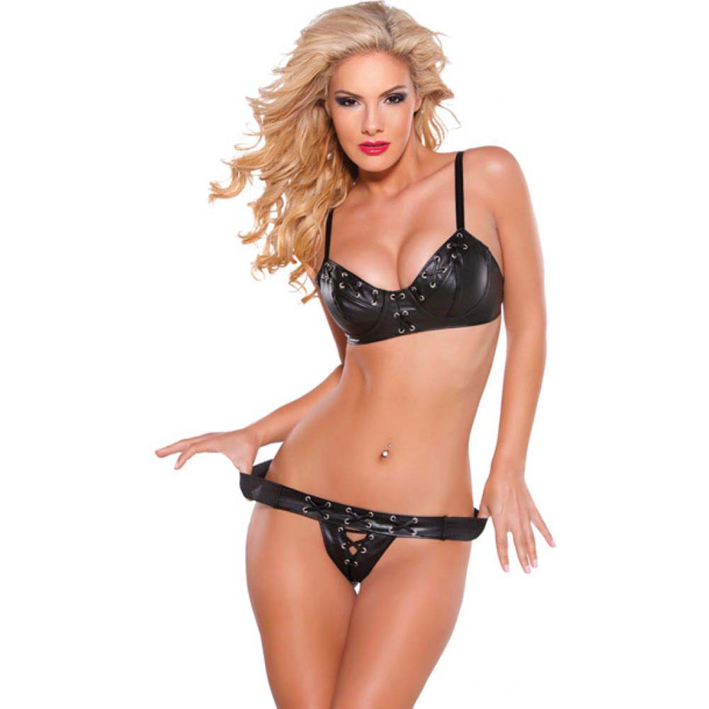 Faux Leather Bra and G-String Set with Silver Detail Black Small - View #1