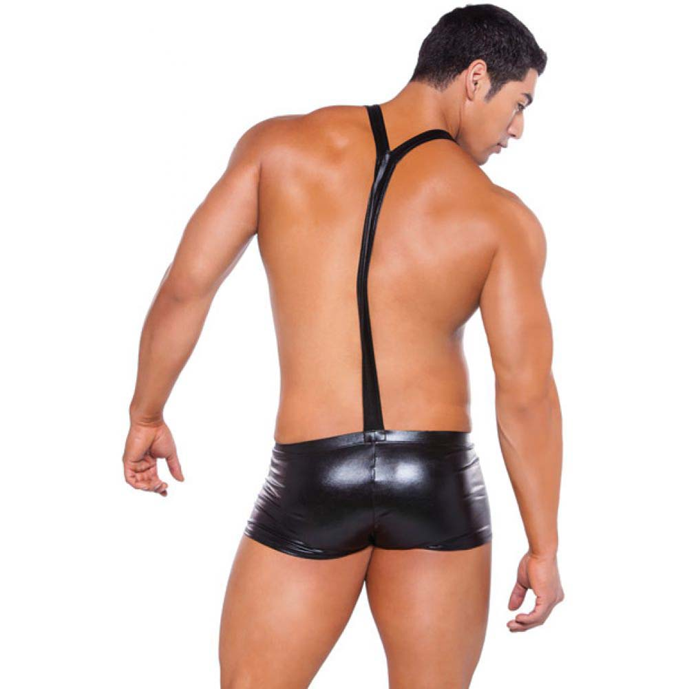 Zeus Wet Look Suspender Shorts Black One Size - View #2