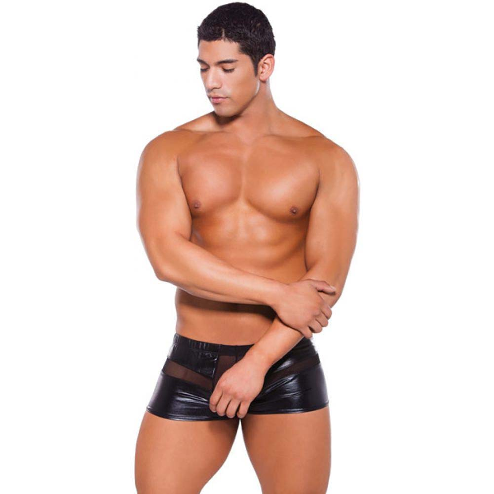 Allure Lingerie Zeus Wet Look Peek-a-Boo Shorts One Size Black - View #3