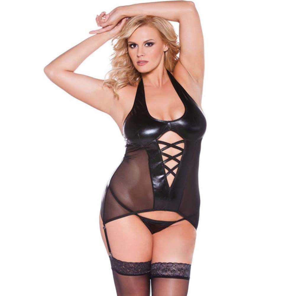 Kitten Wet Look Halter Corset Black Queen Size - View #1