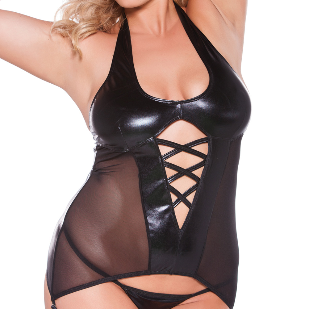 Kitten Wet Look Halter Corset Black Queen Size - View #3
