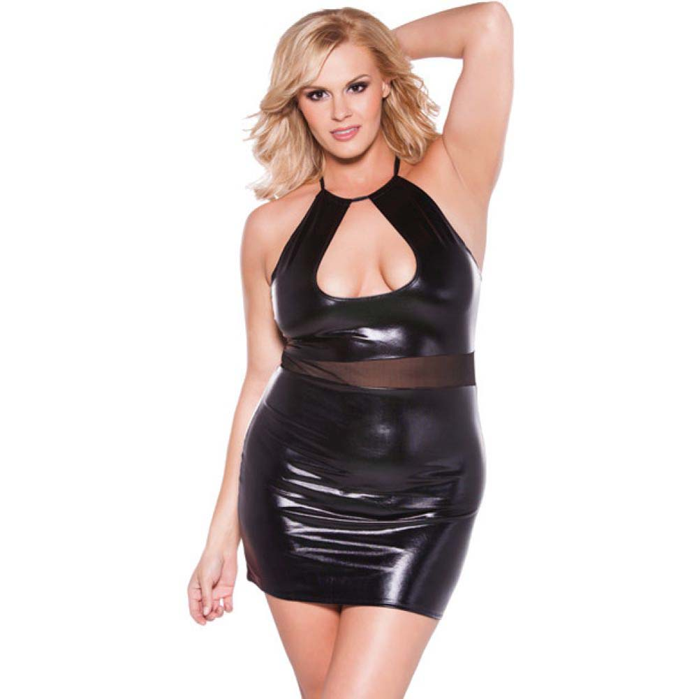 Kitten Wet Look Halter Dress Black Queen Size - View #1