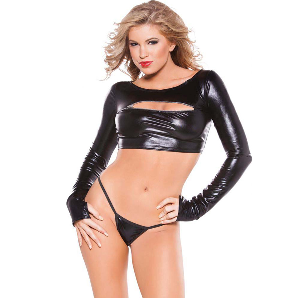 Allure Lingerie Kitten Wet Look Zipper Peekaboo Top One Size Black - View #1