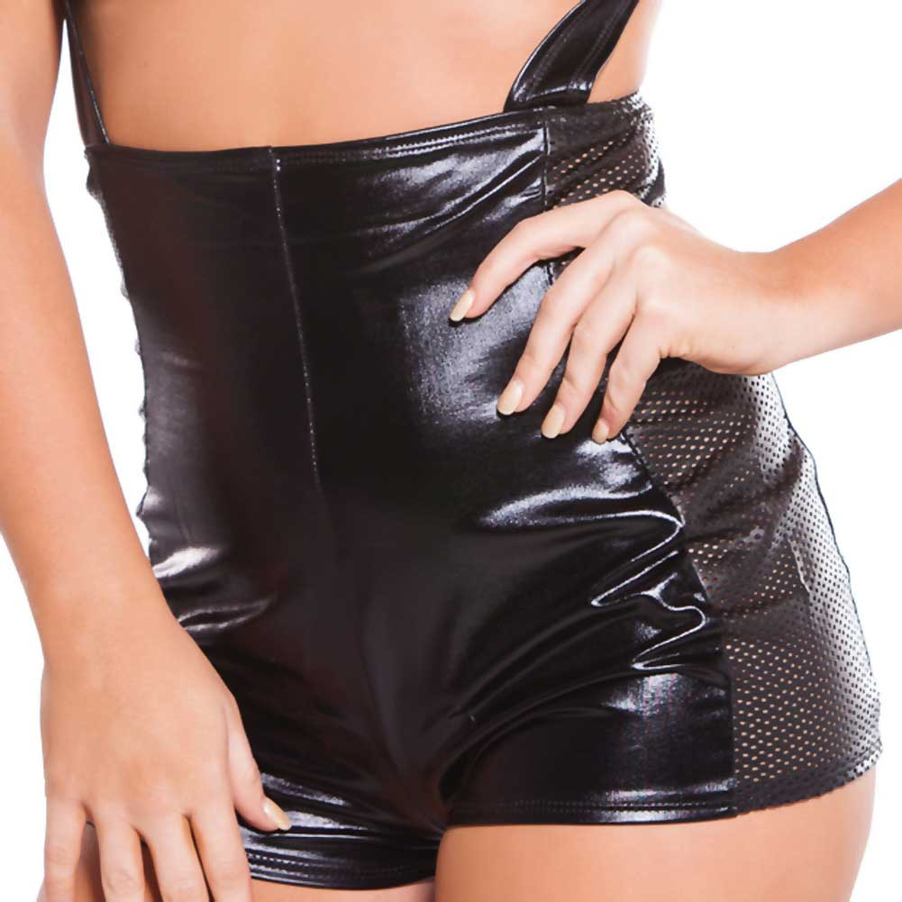 Kitten Wet Look Faux Leather Cupless Jumper Black One Size - View #3