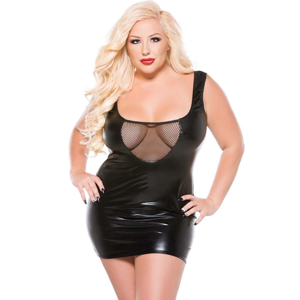Kitten Plus Fishnet and Wet Look Tank Dress One Size Plus Size - View #1