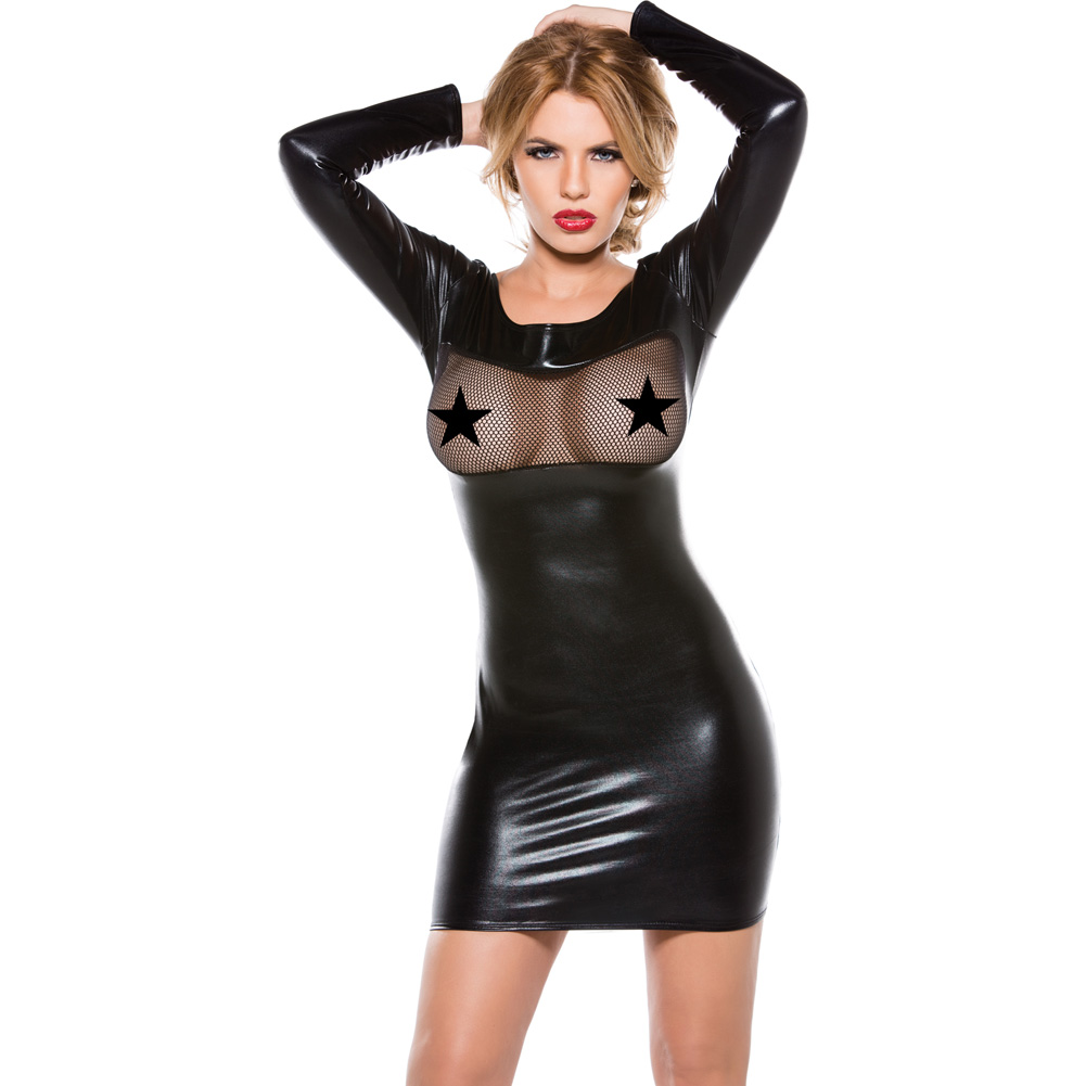 Kitten Fishnet and Wet Look Dress Black One Size - View #1