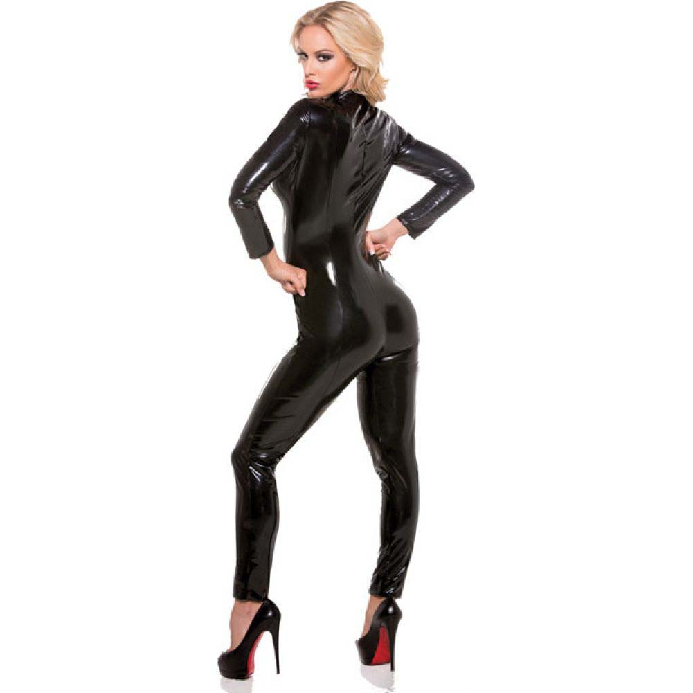 Allure Lingerie Second Skin Wet Look Whiplash Catsuit Large/Extra Large Black - View #2